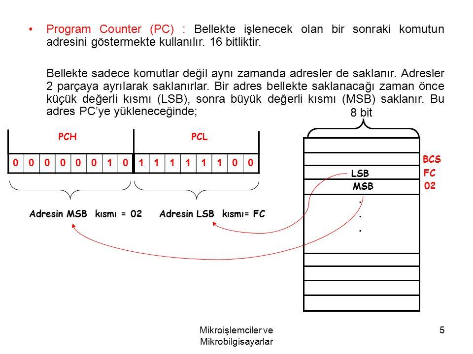 Mikroişlemciler ve Mikrobilgisayarlar 5 Program Counter (PC) : Bellekte işlenecek olan bir sonraki komutun adresini göstermekte kullanılır. 16 bitlikt