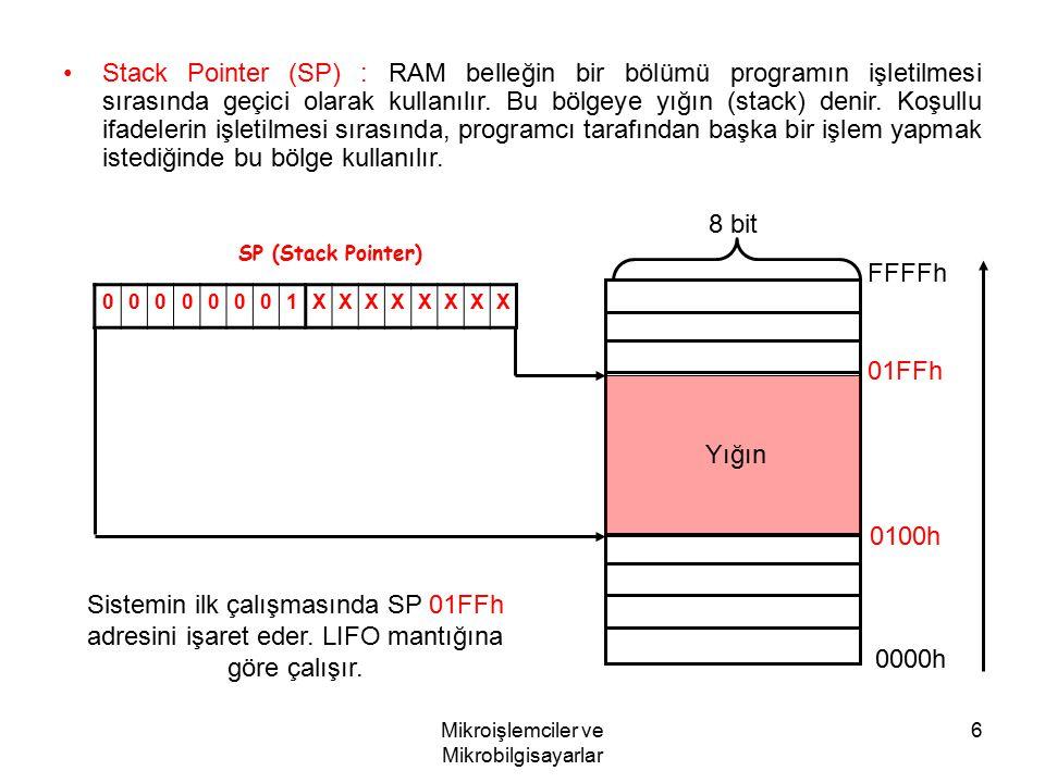 Mikroişlemciler ve Mikrobilgisayarlar 6 Stack Pointer (SP) : RAM belleğin bir bölümü programın işletilmesi sırasında geçici olarak kullanılır. Bu bölg