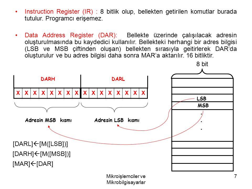 Mikroişlemciler ve Mikrobilgisayarlar 7 Instruction Register (IR) : 8 bitlik olup, bellekten getirilen komutlar burada tutulur. Programcı erişemez. Da