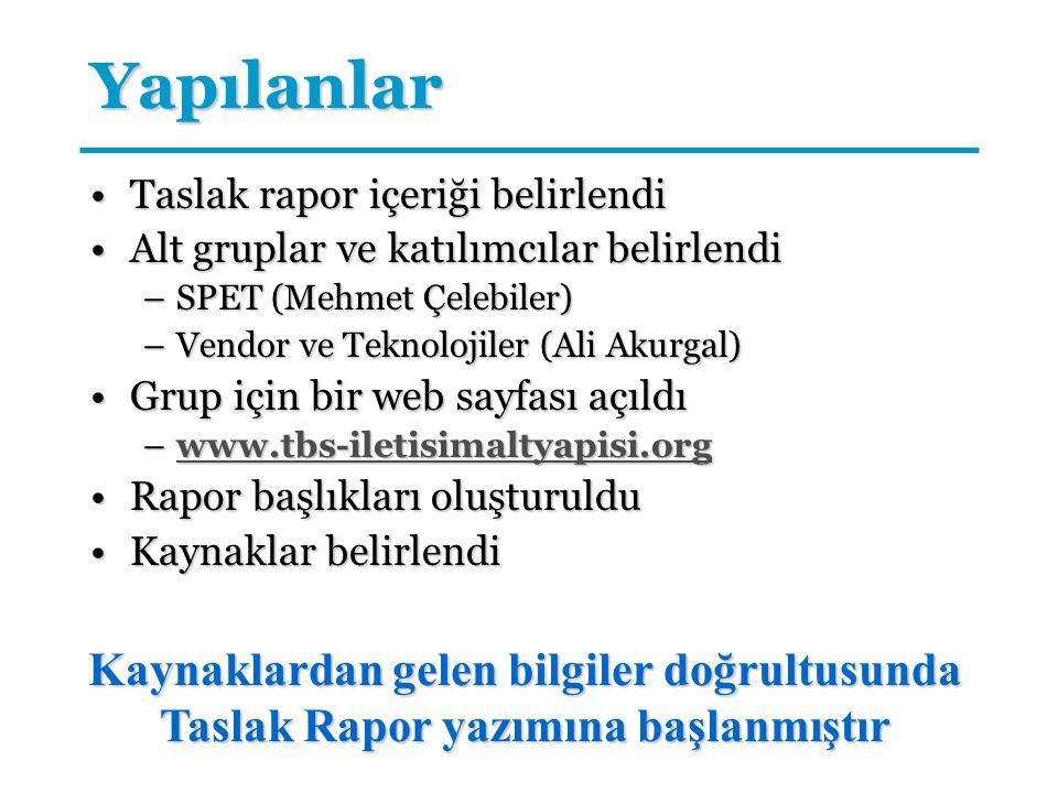 Yapılanlar Taslak rapor içeriği belirlendiTaslak rapor içeriği belirlendi Alt gruplar ve katılımcılar belirlendiAlt gruplar ve katılımcılar belirlendi