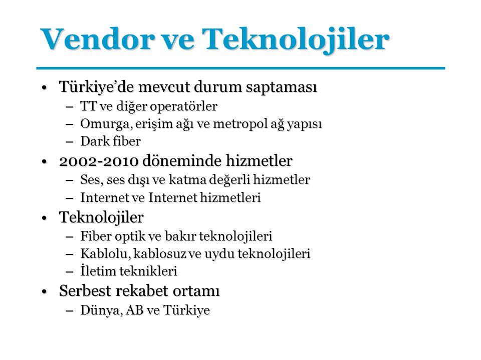 Vendor ve Teknolojiler Türkiye'de mevcut durum saptamasıTürkiye'de mevcut durum saptaması –TT ve diğer operatörler –Omurga, erişim ağı ve metropol ağ