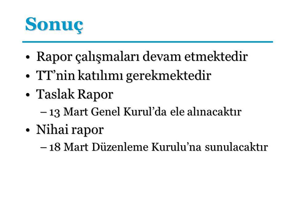 Sonuç Rapor çalışmaları devam etmektedirRapor çalışmaları devam etmektedir TT'nin katılımı gerekmektedirTT'nin katılımı gerekmektedir Taslak RaporTasl