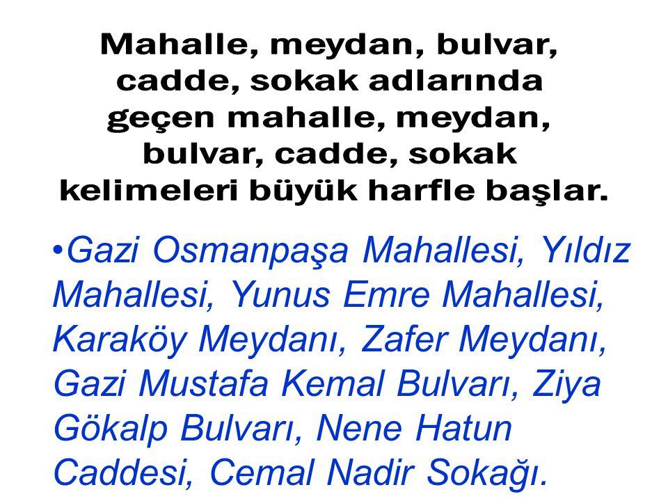 Gazi Osmanpaşa Mahallesi, Yıldız Mahallesi, Yunus Emre Mahallesi, Karaköy Meydanı, Zafer Meydanı, Gazi Mustafa Kemal Bulvarı, Ziya Gökalp Bulvarı, Nen