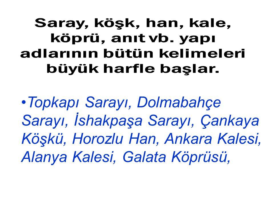 Topkapı Sarayı, Dolmabahçe Sarayı, İshakpaşa Sarayı, Çankaya Köşkü, Horozlu Han, Ankara Kalesi, Alanya Kalesi, Galata Köprüsü,