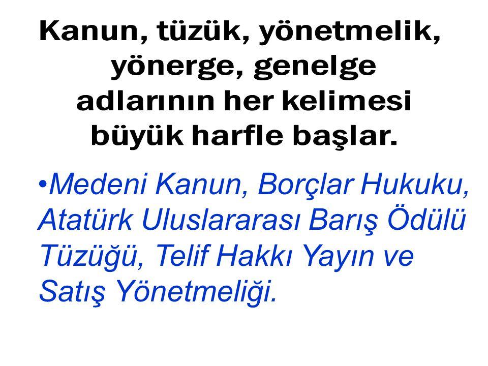 Medeni Kanun, Borçlar Hukuku, Atatürk Uluslararası Barış Ödülü Tüzüğü, Telif Hakkı Yayın ve Satış Yönetmeliği.