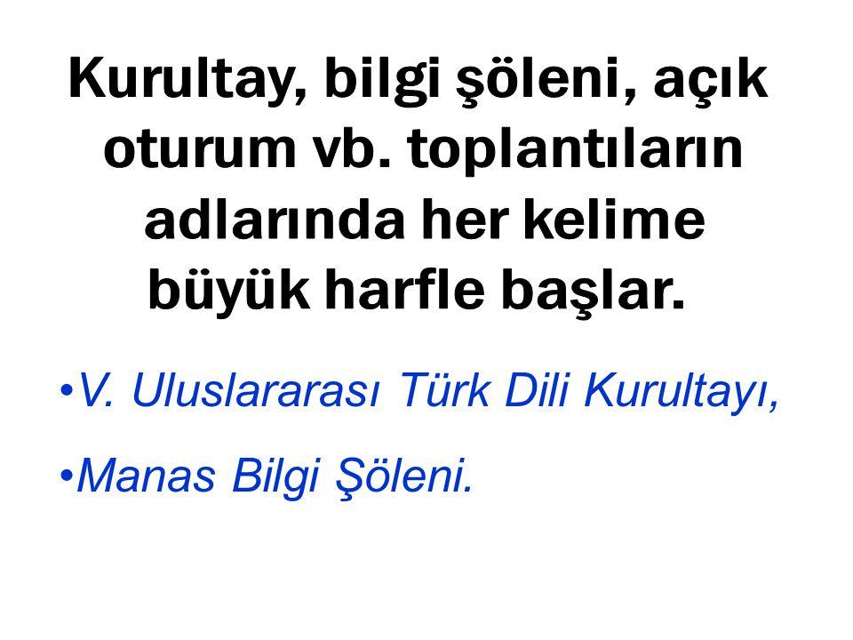 V. Uluslararası Türk Dili Kurultayı, Manas Bilgi Şöleni.