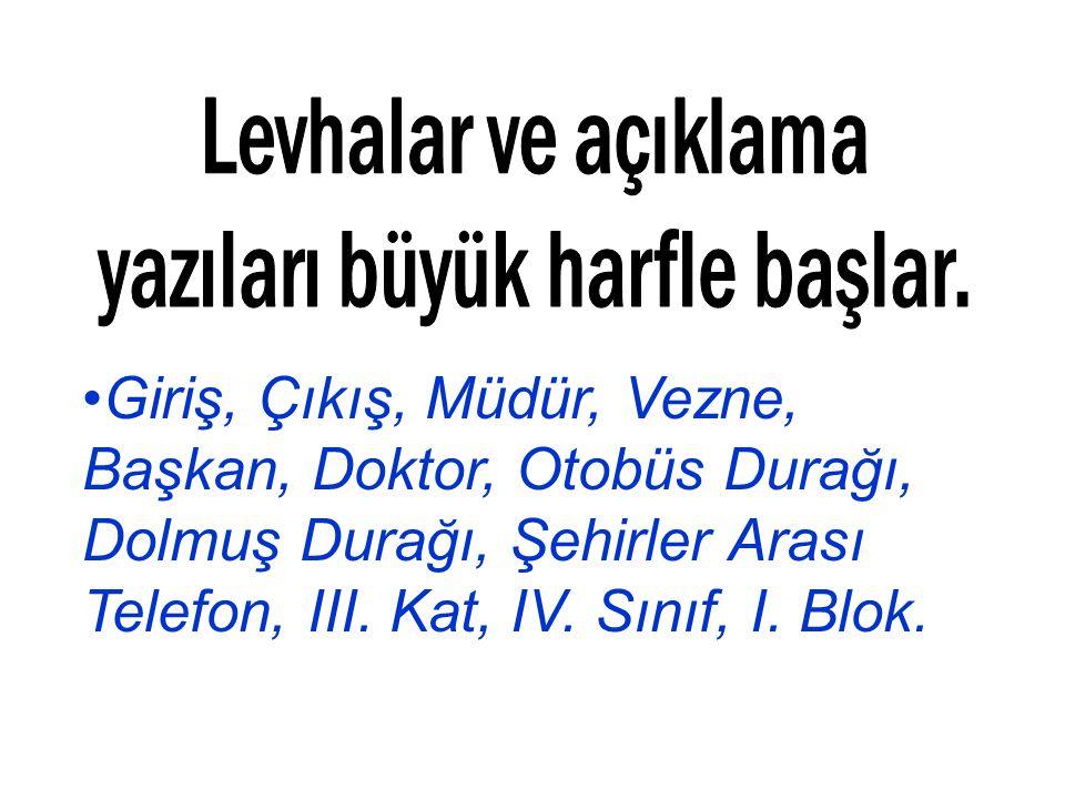 Giriş, Çıkış, Müdür, Vezne, Başkan, Doktor, Otobüs Durağı, Dolmuş Durağı, Şehirler Arası Telefon, III. Kat, IV. Sınıf, I. Blok.
