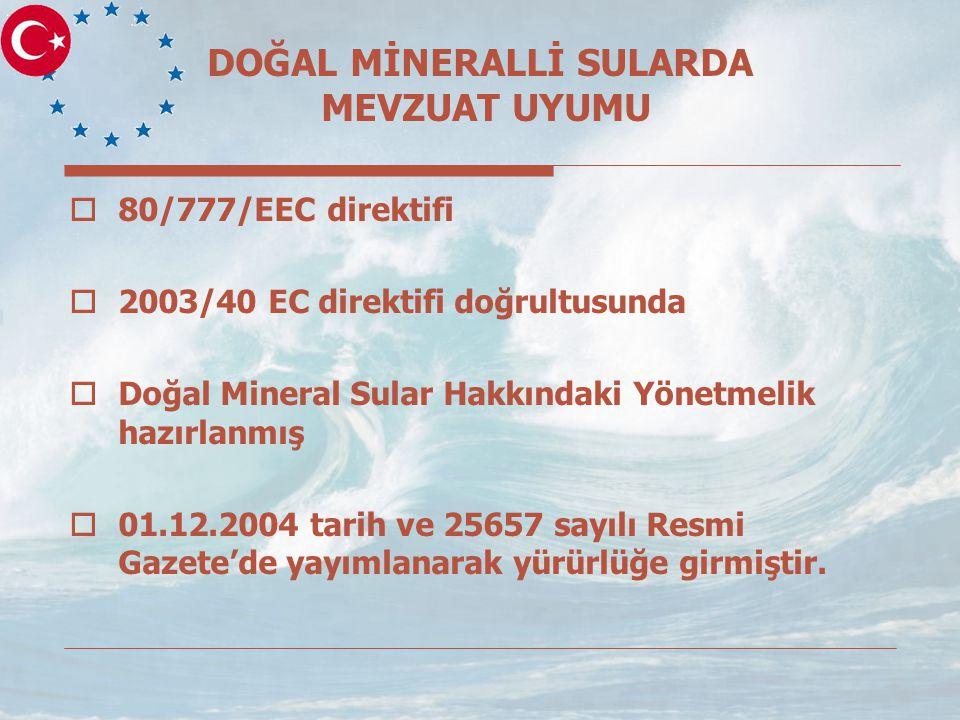 DOĞAL MİNERALLİ SULARDA MEVZUAT UYUMU  80/777/EEC direktifi  2003/40 EC direktifi doğrultusunda  Doğal Mineral Sular Hakkındaki Yönetmelik hazırlanmış  01.12.2004 tarih ve 25657 sayılı Resmi Gazete'de yayımlanarak yürürlüğe girmiştir.