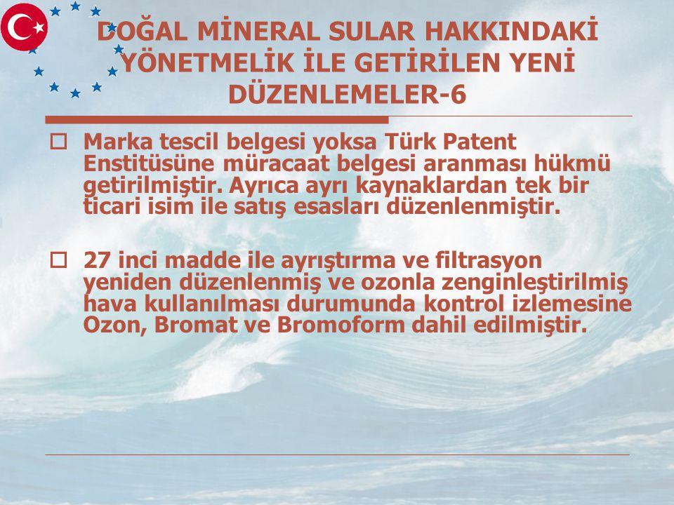 DOĞAL MİNERAL SULAR HAKKINDAKİ YÖNETMELİK İLE GETİRİLEN YENİ DÜZENLEMELER-6  Marka tescil belgesi yoksa Türk Patent Enstitüsüne müracaat belgesi aranması hükmü getirilmiştir.