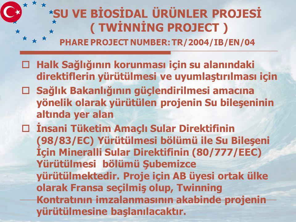 SU VE BİOSİDAL ÜRÜNLER PROJESİ ( TWİNNİNG PROJECT ) PHARE PROJECT NUMBER: TR/2004/IB/EN/04  Halk Sağlığının korunması için su alanındaki direktiflerin yürütülmesi ve uyumlaştırılması için  Sağlık Bakanlığının güçlendirilmesi amacına yönelik olarak yürütülen projenin Su bileşeninin altında yer alan  İnsani Tüketim Amaçlı Sular Direktifinin (98/83/EC) Yürütülmesi bölümü ile Su Bileşeni İçin Mineralli Sular Direktifinin (80/777/EEC) Yürütülmesi bölümü Şubemizce yürütülmektedir.