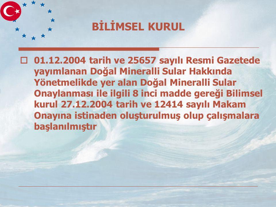 BİLİMSEL KURUL  01.12.2004 tarih ve 25657 sayılı Resmi Gazetede yayımlanan Doğal Mineralli Sular Hakkında Yönetmelikde yer alan Doğal Mineralli Sular Onaylanması ile ilgili 8 inci madde gereği Bilimsel kurul 27.12.2004 tarih ve 12414 sayılı Makam Onayına istinaden oluşturulmuş olup çalışmalara başlanılmıştır