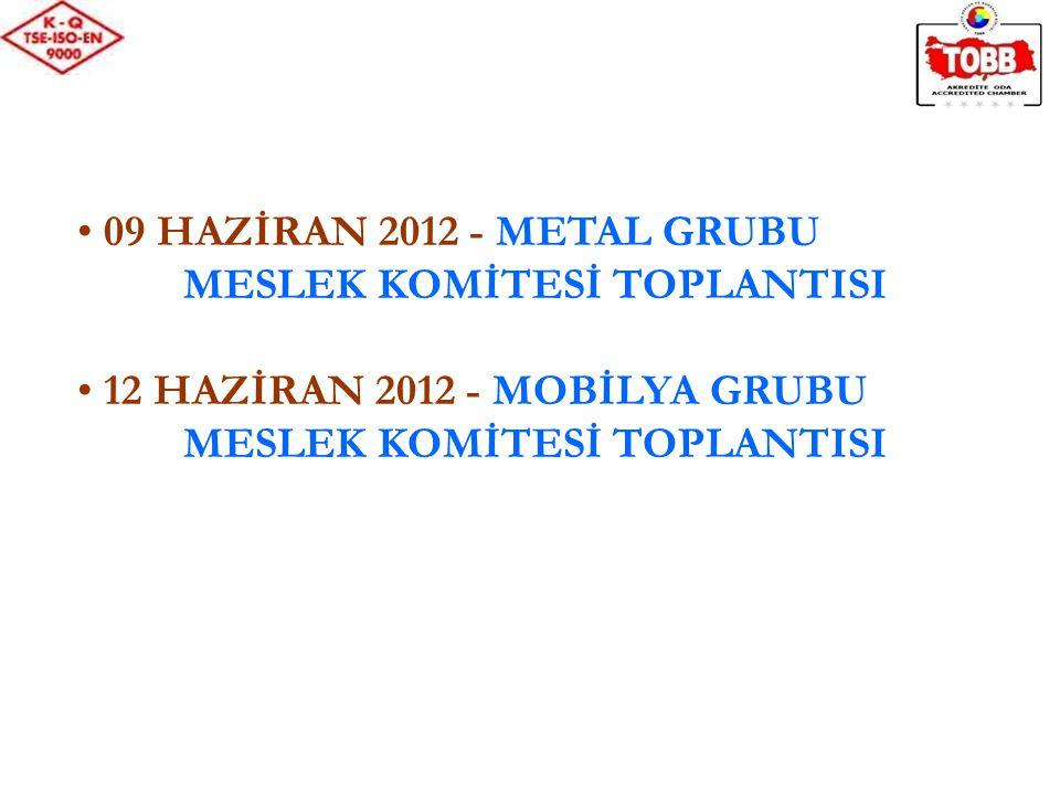 09 HAZİRAN 2012 - METAL GRUBU MESLEK KOMİTESİ TOPLANTISI 12 HAZİRAN 2012 - MOBİLYA GRUBU MESLEK KOMİTESİ TOPLANTISI
