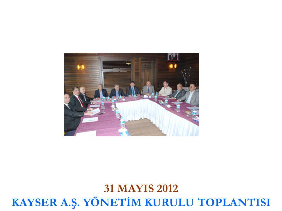 31 MAYIS 2012 KAYSER A.Ş. YÖNETİM KURULU TOPLANTISI