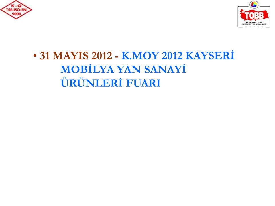 31 MAYIS 2012 - K.MOY 2012 KAYSERİ MOBİLYA YAN SANAYİ ÜRÜNLERİ FUARI