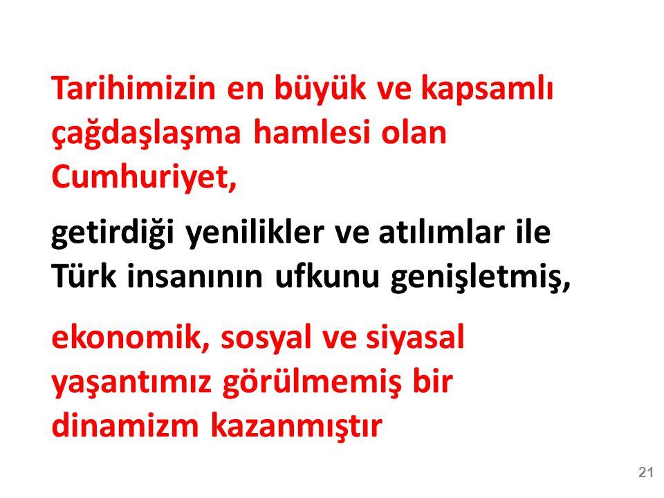 21 Tarihimizin en büyük ve kapsamlı çağdaşlaşma hamlesi olan Cumhuriyet, getirdiği yenilikler ve atılımlar ile Türk insanının ufkunu genişletmiş, ekonomik, sosyal ve siyasal yaşantımız görülmemiş bir dinamizm kazanmıştır