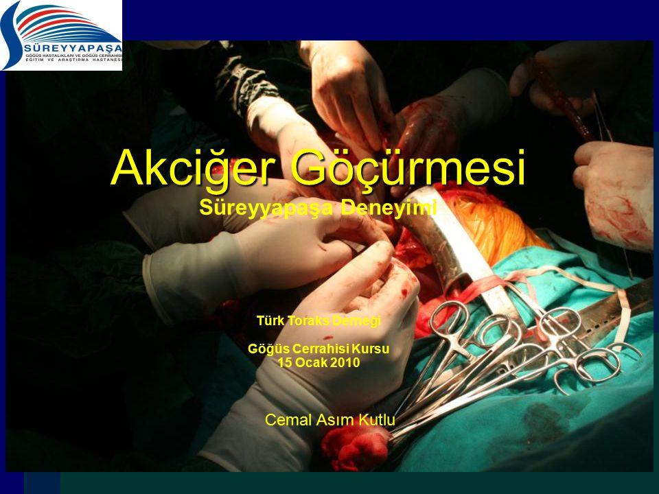 Akciğer Göçürmesi Akciğer Göçürmesi Süreyyapaşa Deneyimi Türk Toraks Derneği Göğüs Cerrahisi Kursu 15 Ocak 2010 Cemal Asım Kutlu