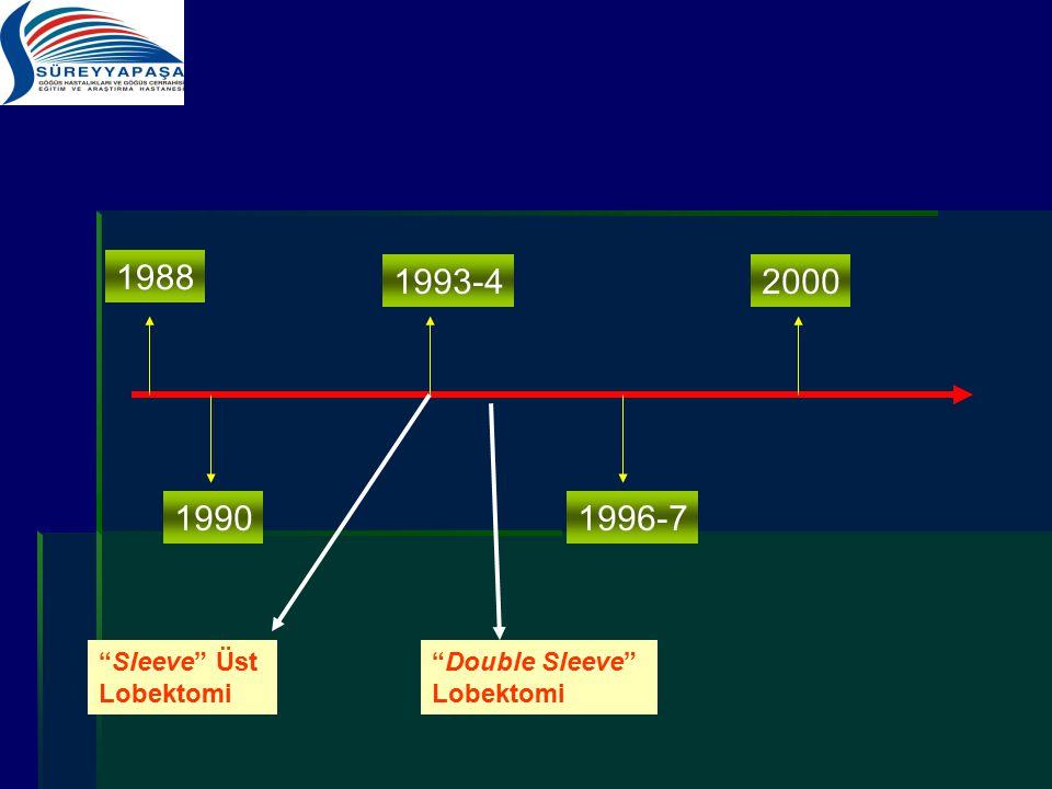 "1988 1990 1993-4 1996-7 2000 ""Sleeve"" Üst Lobektomi ""Double Sleeve"" Lobektomi"