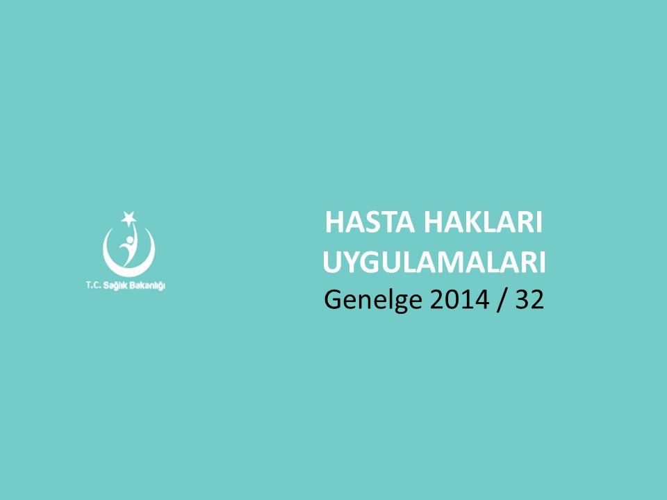 HASTA HAKLARI UYGULAMALARI Genelge 2014 / 32