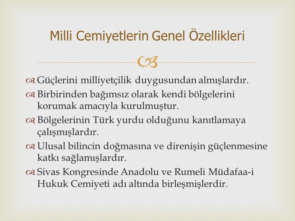   Güçlerini milliyetçilik duygusundan almışlardır.  Birbirinden bağımsız olarak kendi bölgelerini korumak amacıyla kurulmuştur.  Bölgelerinin Türk