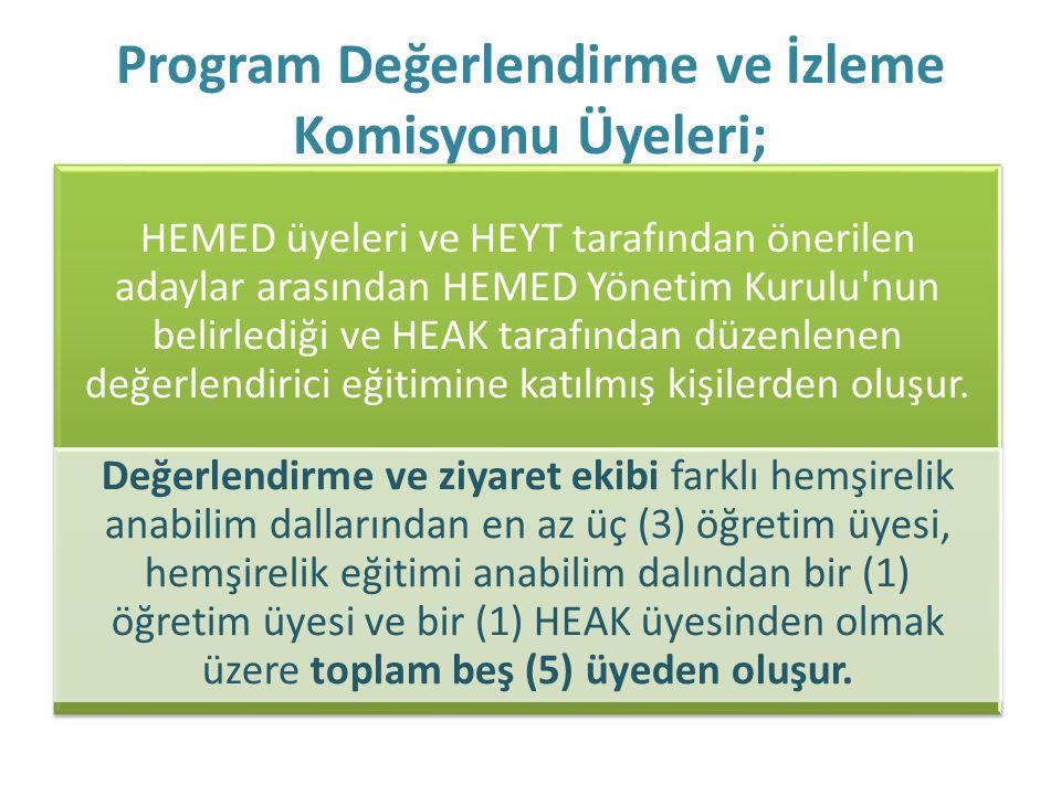Program Değerlendirme ve İzleme Komisyonu Üyeleri; HEMED üyeleri ve HEYT tarafından önerilen adaylar arasından HEMED Yönetim Kurulu'nun belirlediği ve