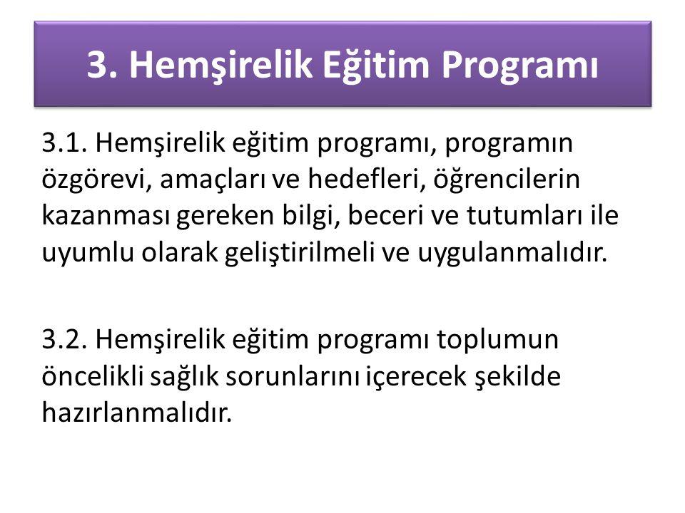 3. Hemşirelik Eğitim Programı 3.1. Hemşirelik eğitim programı, programın özgörevi, amaçları ve hedefleri, öğrencilerin kazanması gereken bilgi, beceri