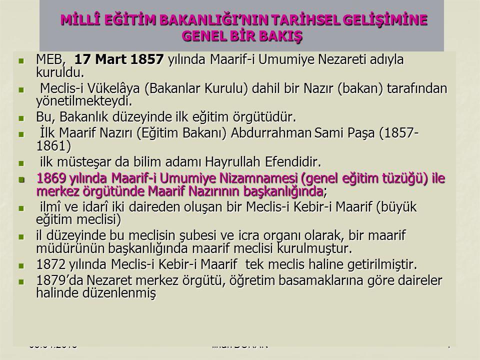 03.04.2015ilhan DURAN1 MİLLÎ EĞİTİM BAKANLIĞI'NIN TARİHSEL GELİŞİMİNE GENEL BİR BAKIŞ MİLLÎ EĞİTİM BAKANLIĞI'NIN TARİHSEL GELİŞİMİNE GENEL BİR BAKIŞ MEB, 17 Mart 1857 yılında Maarif-i Umumiye Nezareti adıyla kuruldu.