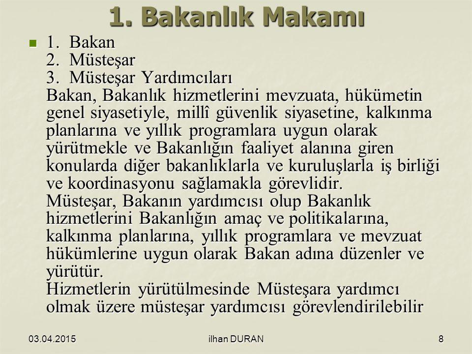 03.04.2015ilhan DURAN8 1.Bakanlık Makamı 1. Bakan 2.