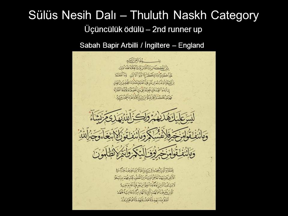 Üçüncülük ödülü – 2nd runner up Sabah Bapir Arbilli / İngiltere – England