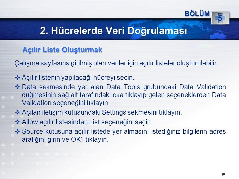 2. Hücrelerde Veri Doğrulaması Çalışma sayfasına girilmiş olan veriler için açılır listeler oluşturulabilir.  Açılır listenin yapılacağı hücreyi seçi