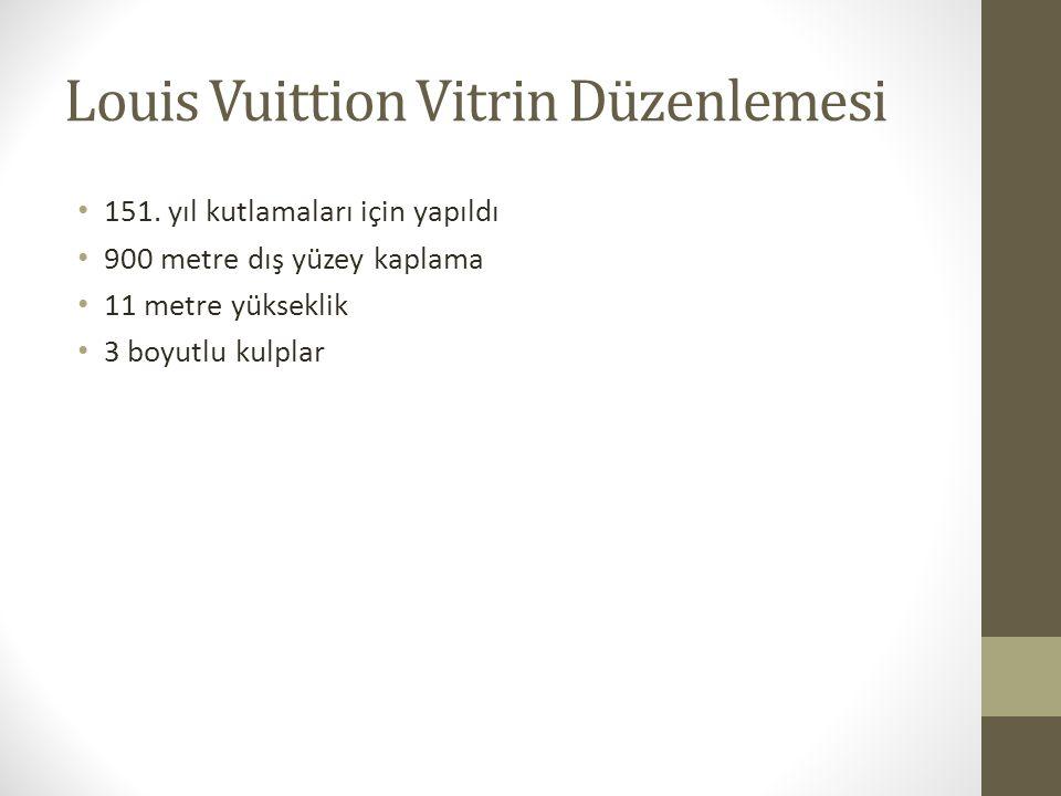 Louis Vuittion Vitrin Düzenlemesi 151. yıl kutlamaları için yapıldı 900 metre dış yüzey kaplama 11 metre yükseklik 3 boyutlu kulplar