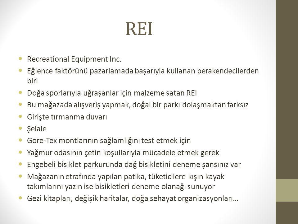 REI Recreational Equipment Inc. Eğlence faktörünü pazarlamada başarıyla kullanan perakendecilerden biri Doğa sporlarıyla uğraşanlar için malzeme satan