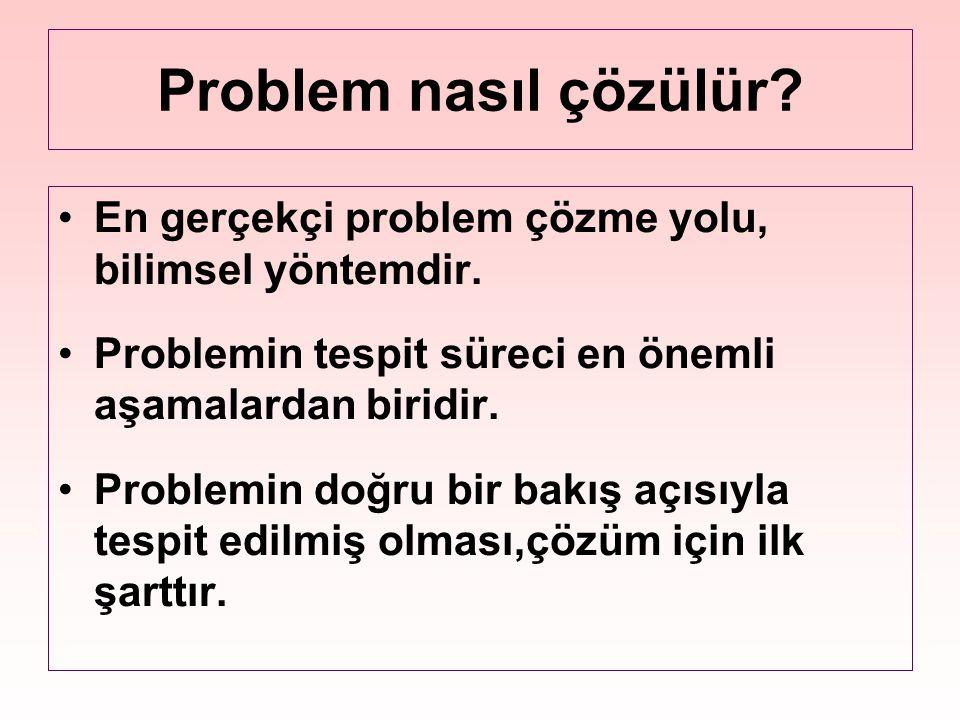 Problem nasıl çözülür? En gerçekçi problem çözme yolu, bilimsel yöntemdir. Problemin tespit süreci en önemli aşamalardan biridir. Problemin doğru bir