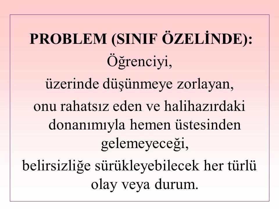 PROBLEM (SINIF ÖZELİNDE): Öğrenciyi, üzerinde düşünmeye zorlayan, onu rahatsız eden ve halihazırdaki donanımıyla hemen üstesinden gelemeyeceği, belirs