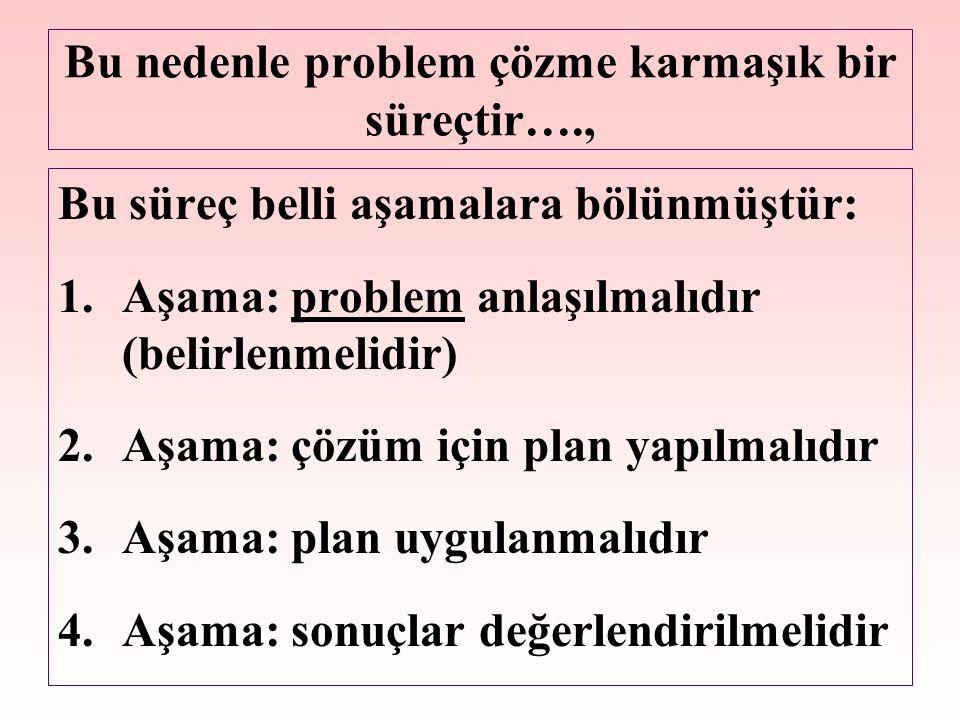 Bu nedenle problem çözme karmaşık bir süreçtir…., Bu süreç belli aşamalara bölünmüştür: 1.Aşama: problem anlaşılmalıdır (belirlenmelidir) 2.Aşama: çözüm için plan yapılmalıdır 3.Aşama: plan uygulanmalıdır 4.Aşama: sonuçlar değerlendirilmelidir