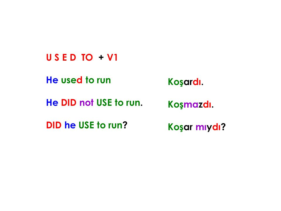 U S E D TO + V1 He used to run He DID not USE to run. DID he USE to run? Koşardı. Koşmazdı. Koşar mıydı?