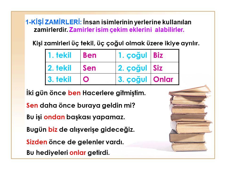 İsimlerin yerini tutan kelimelere zamir denir. Zamirler kelime halinde ve ek halinde olmak üzere ikiye ayrılır: A) KELİME HALİNDEKİ ZAMİRLER 3) BELGİS