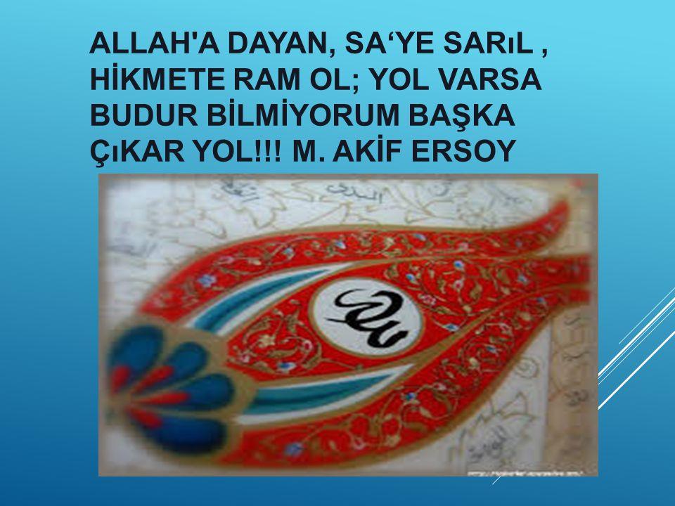 ALLAH A DAYAN, SA'YE SARıL, HİKMETE RAM OL; YOL VARSA BUDUR BİLMİYORUM BAŞKA ÇıKAR YOL!!.