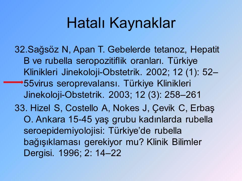 Hatalı Kaynaklar 32.Sağsöz N, Apan T. Gebelerde tetanoz, Hepatit B ve rubella seropozitiflik oranları. Türkiye Klinikleri Jinekoloji-Obstetrik. 2002;