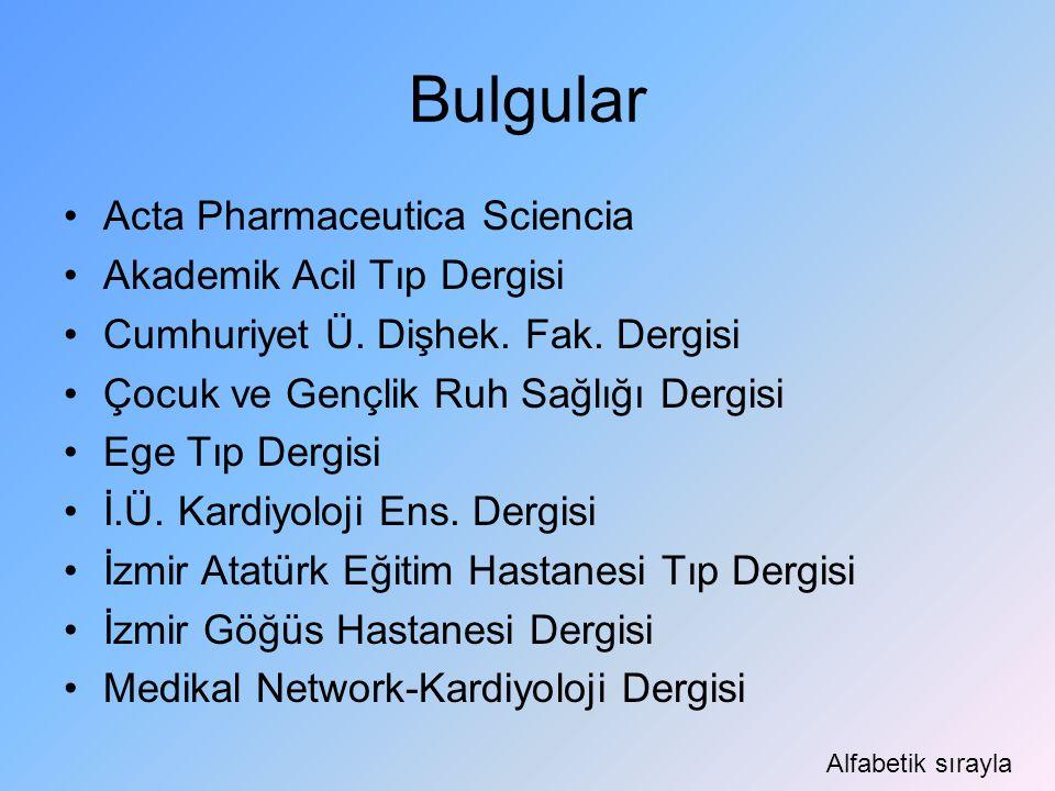 Bulgular Acta Pharmaceutica Sciencia Akademik Acil Tıp Dergisi Cumhuriyet Ü. Dişhek. Fak. Dergisi Çocuk ve Gençlik Ruh Sağlığı Dergisi Ege Tıp Dergisi