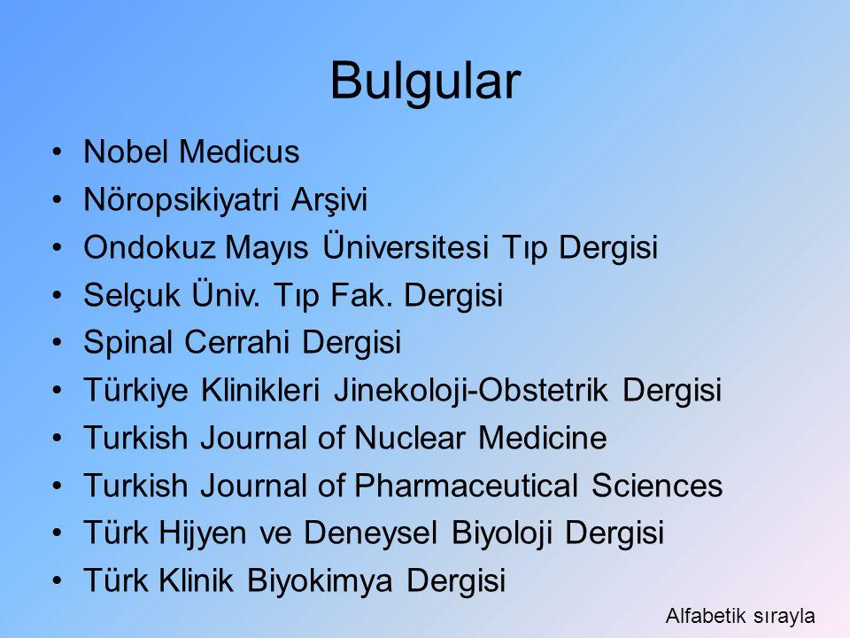 Bulgular Nobel Medicus Nöropsikiyatri Arşivi Ondokuz Mayıs Üniversitesi Tıp Dergisi Selçuk Üniv. Tıp Fak. Dergisi Spinal Cerrahi Dergisi Türkiye Klini