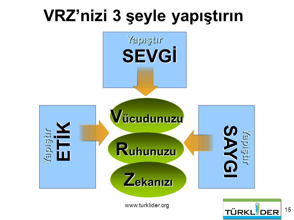 www.turklider.org 15 V ücudunuzu Yapıştır SEVGİ VRZ'nizi 3 şeyle yapıştırın R uhunuzu Z ekanızı Yapıştır SAYGI Yapıştır ETİK