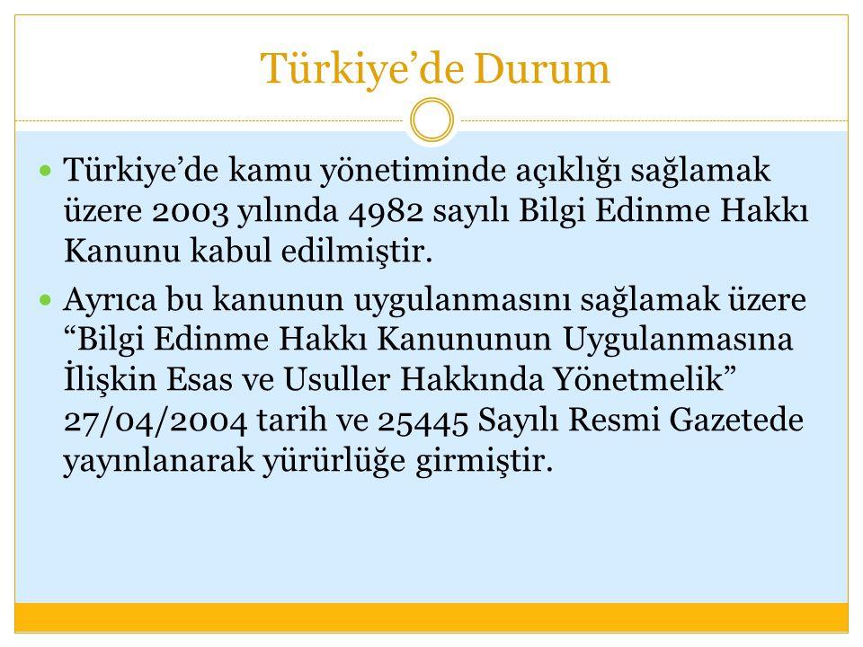 Türkiye'de Durum Türkiye'de kamu yönetiminde açıklığı sağlamak üzere 2003 yılında 4982 sayılı Bilgi Edinme Hakkı Kanunu kabul edilmiştir. Ayrıca bu ka