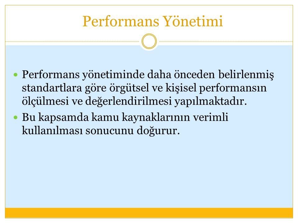 Performans Yönetimi Performans yönetiminde daha önceden belirlenmiş standartlara göre örgütsel ve kişisel performansın ölçülmesi ve değerlendirilmesi
