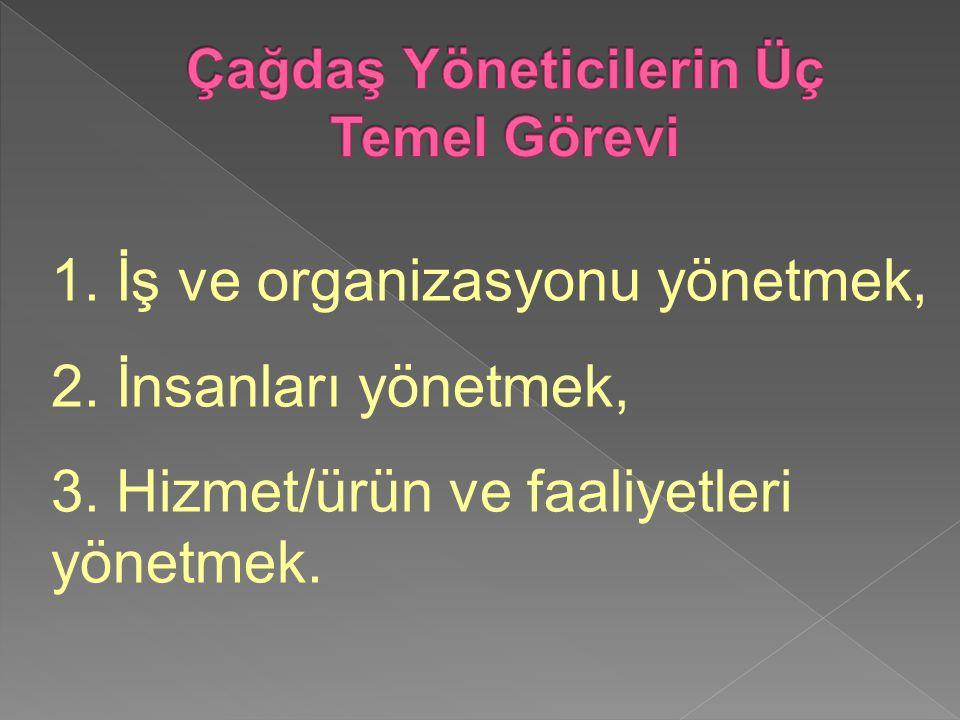 1. İş ve organizasyonu yönetmek, 2. İnsanları yönetmek, 3. Hizmet/ürün ve faaliyetleri yönetmek.