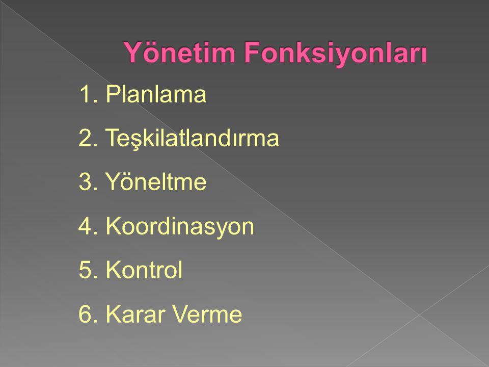1. Planlama 2. Teşkilatlandırma 3. Yöneltme 4. Koordinasyon 5. Kontrol 6. Karar Verme
