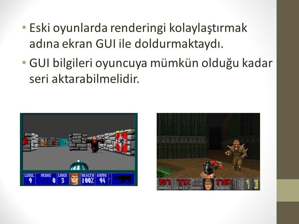 Eski oyunlarda renderingi kolaylaştırmak adına ekran GUI ile doldurmaktaydı. GUI bilgileri oyuncuya mümkün olduğu kadar seri aktarabilmelidir.