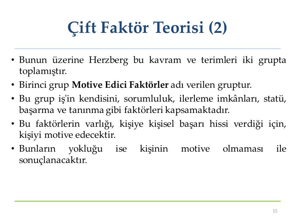 Çift Faktör Teorisi (2) Bunun üzerine Herzberg bu kavram ve terimleri iki grupta toplamıştır. Birinci grup Motive Edici Faktörler adı verilen gruptur.