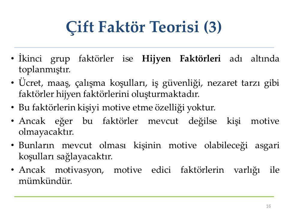 Çift Faktör Teorisi (3) İkinci grup faktörler ise Hijyen Faktörleri adı altında toplanmıştır. Ücret, maaş, çalışma koşulları, iş güvenliği, nezaret ta