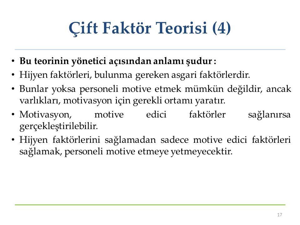 Çift Faktör Teorisi (4) Bu teorinin yönetici açısından anlamı şudur : Hijyen faktörleri, bulunma gereken asgari faktörlerdir. Bunlar yoksa personeli m