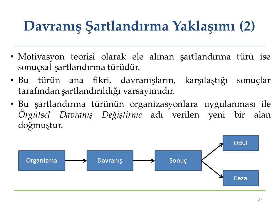 Davranış Şartlandırma Yaklaşımı (2) Motivasyon teorisi olarak ele alınan şartlandırma türü ise sonuçsal şartlandırma türüdür. Bu türün ana fikri, davr